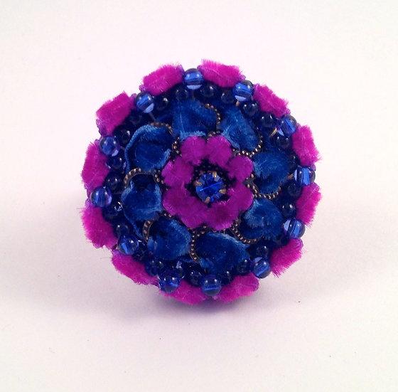 Beaded and Velvet Boho Ring - Blue and Purple