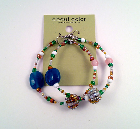 About Color Beaded Hoop Earrings
