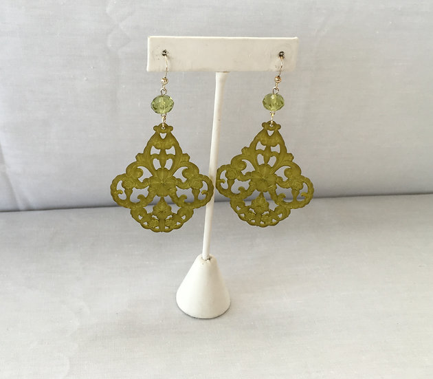 Elle V Designs Earrings - Yellow/Green