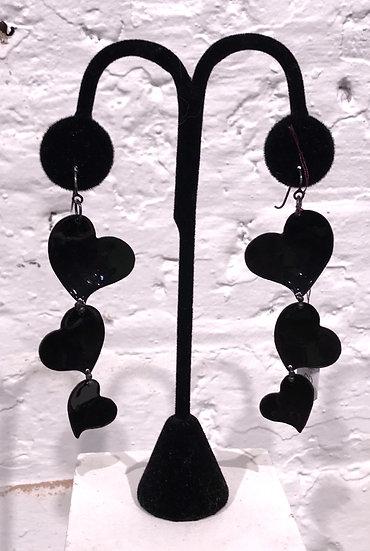 MFF - Black Triple Heart Earrings