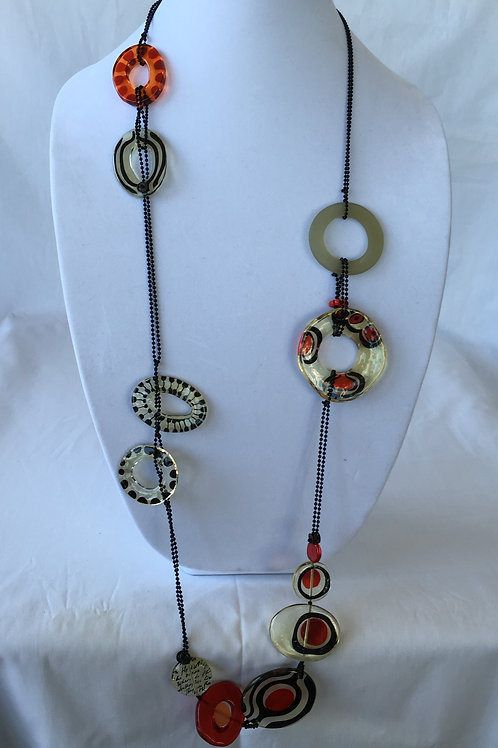 Long Red and Black Necklace - N1448