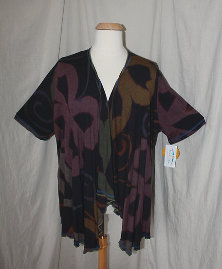 Short Sleeve Drapey Jacket - 2X in Black Mix