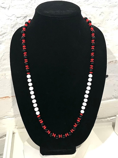 Vintage Bead Necklace - red, white, black