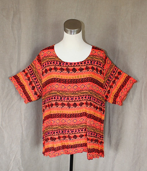Printed Splashy Top - Outrageous Orange S/M