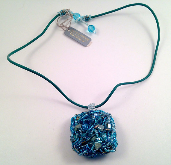 Dunitz & Company Blue Wrapped Bead Necklace