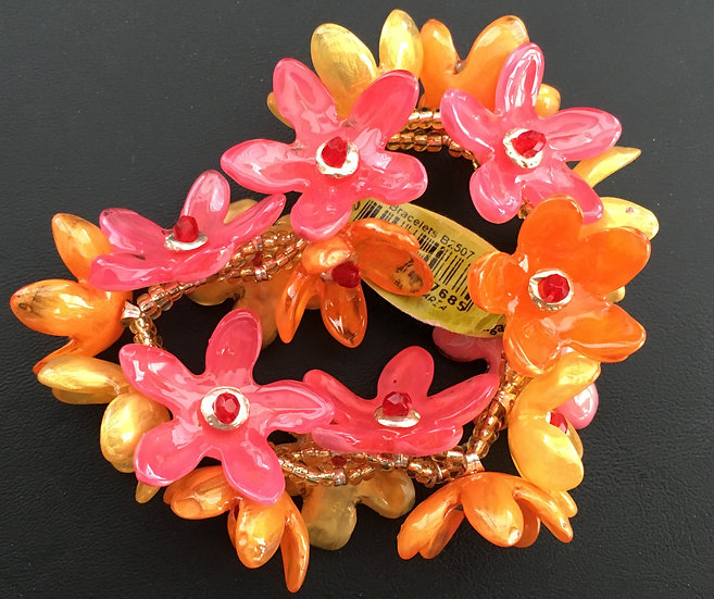 Orange and Pink Flower Combo Bracelet and Ring