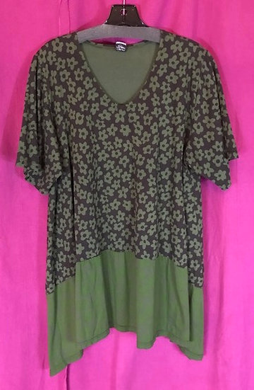 38 - Suntime Tunic-y - Olive Flowers