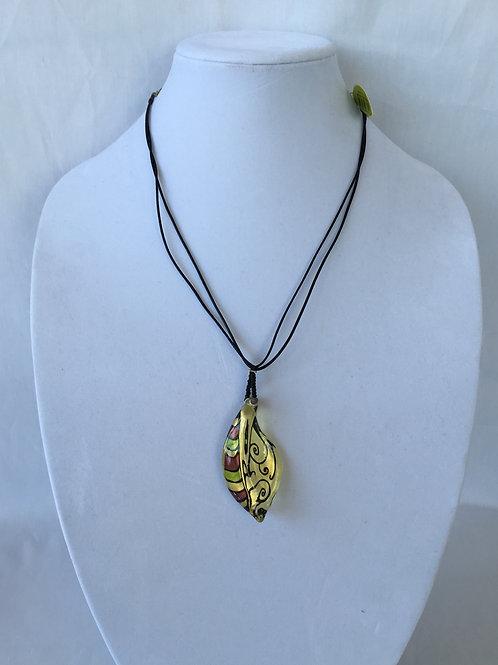 Colorful Leaf Pendant Necklace - P4392-1