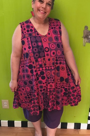 73 Flippy Dress - Pink Dots and Squares - Sz 2
