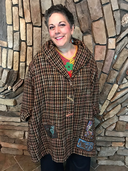 Fabulous Folk Coat - O/S - Or/Lime Stripe (#48)