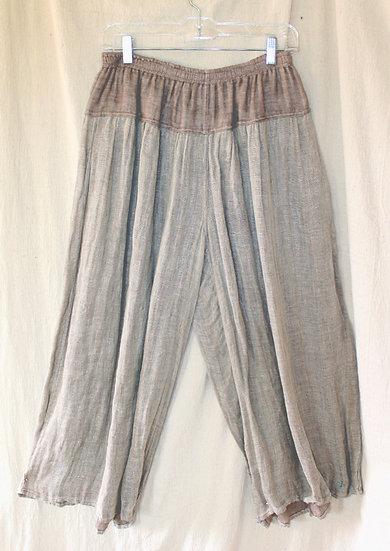 2 tone Natural Linen Khaki Pant - S/M - DT0273