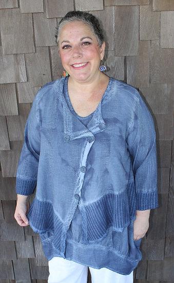 Mixed Fabric/Dye Asymmetrical Jacket (#03-1216)
