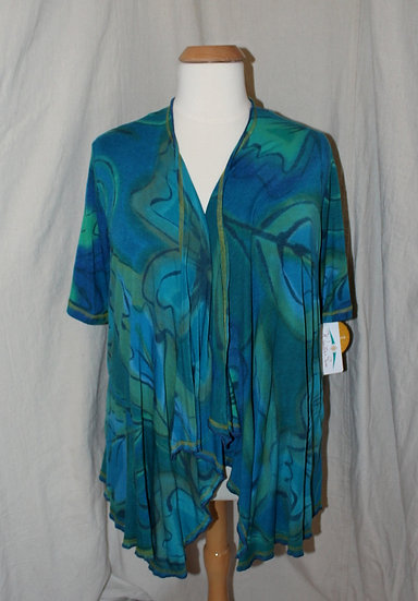 Short Sleeve Drapey Jacket - XL in Cool Mix