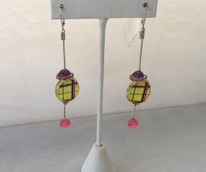 A pop of Plaid Earrings - 6644