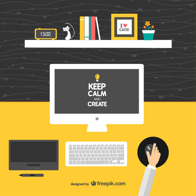 Keep-calm-and-create-designers-desk-vector