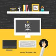 Keep-calm-and-create-designers-desk-vector
