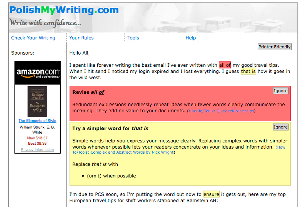 polish my writing