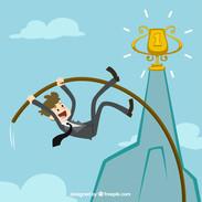 Businessman-pole-vaulting-to-achieve-his-goal