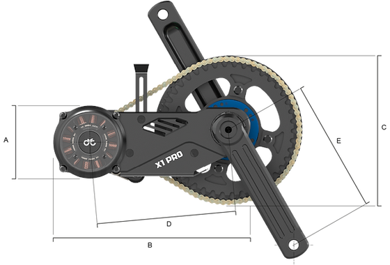 X1 PRO mid drive motor left side view