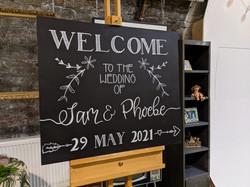 Chalkboard welcome board