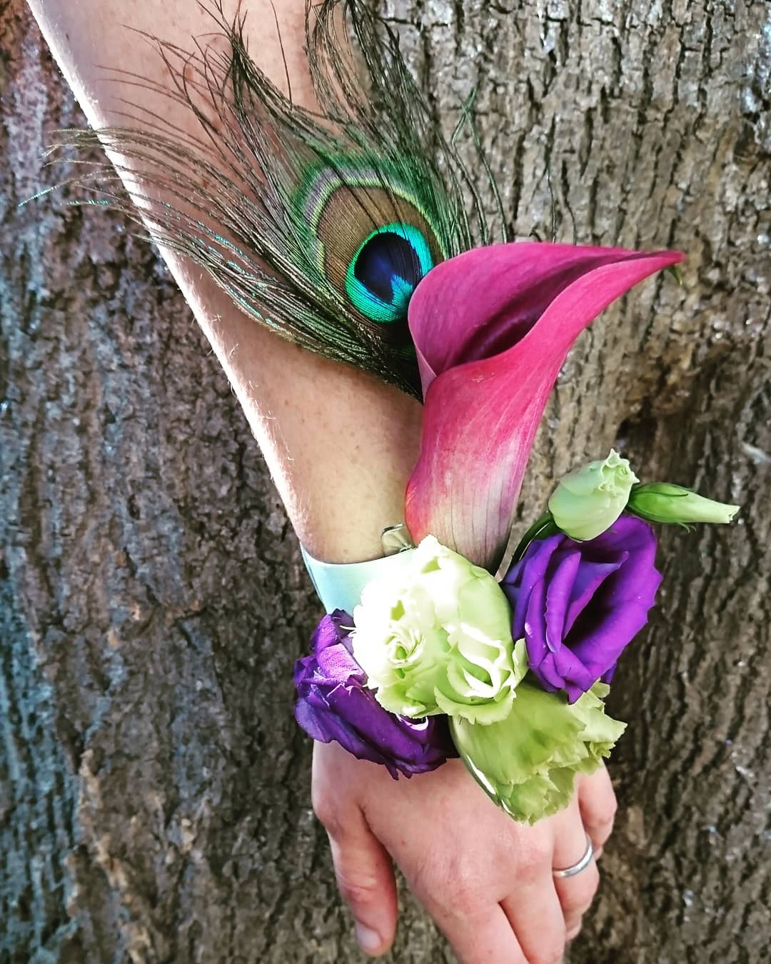 Wrist corsage for bridesmaids