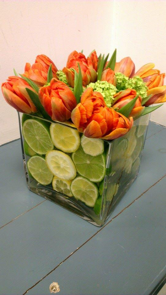 Citrus spring cube vases