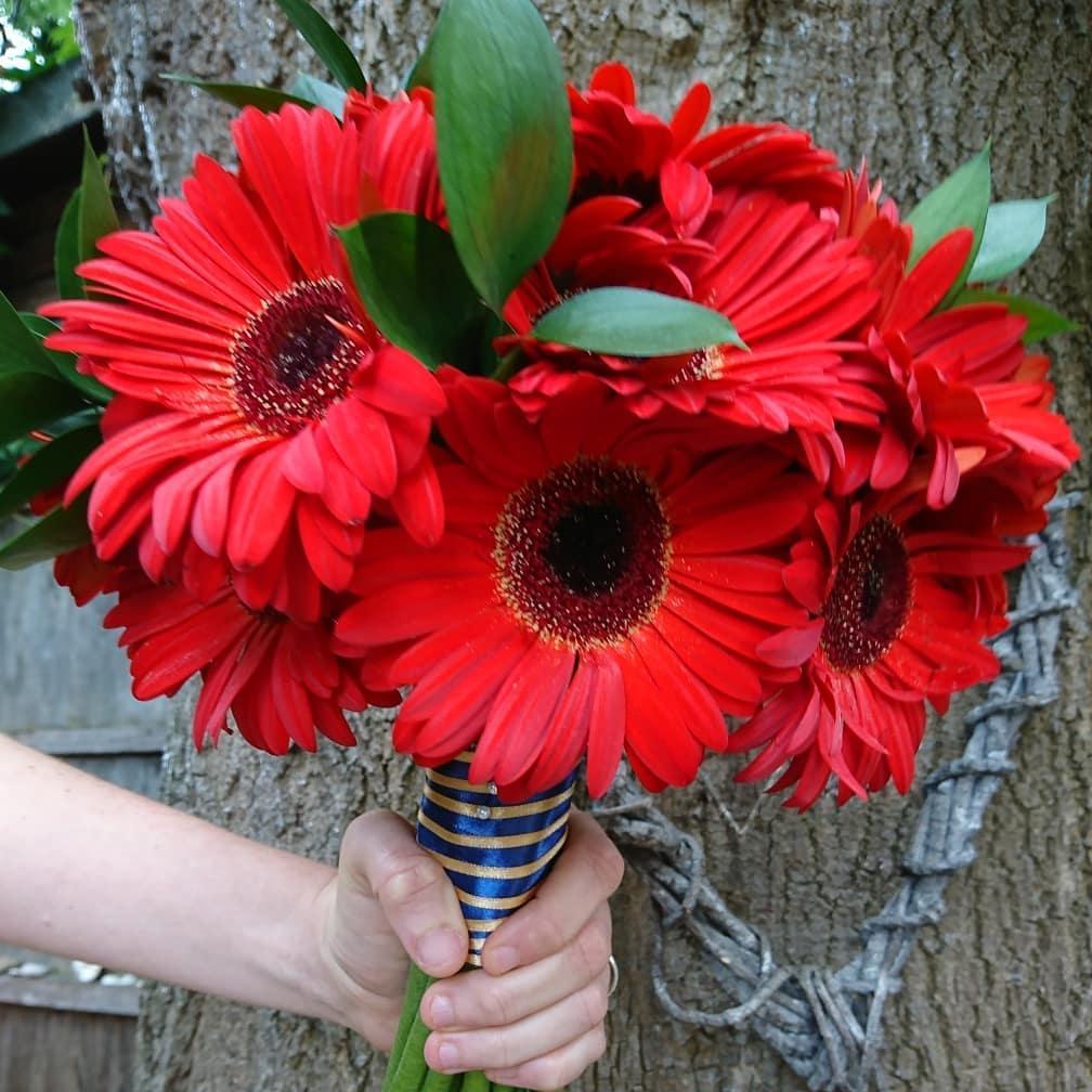 Red gerbera bridal bouquet