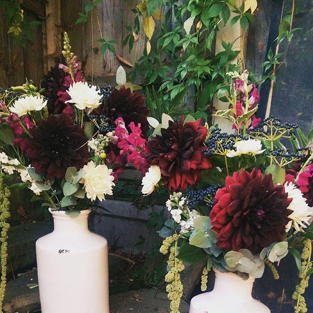 Burgundy & cream display vases
