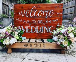 Wooden wedding welcome board