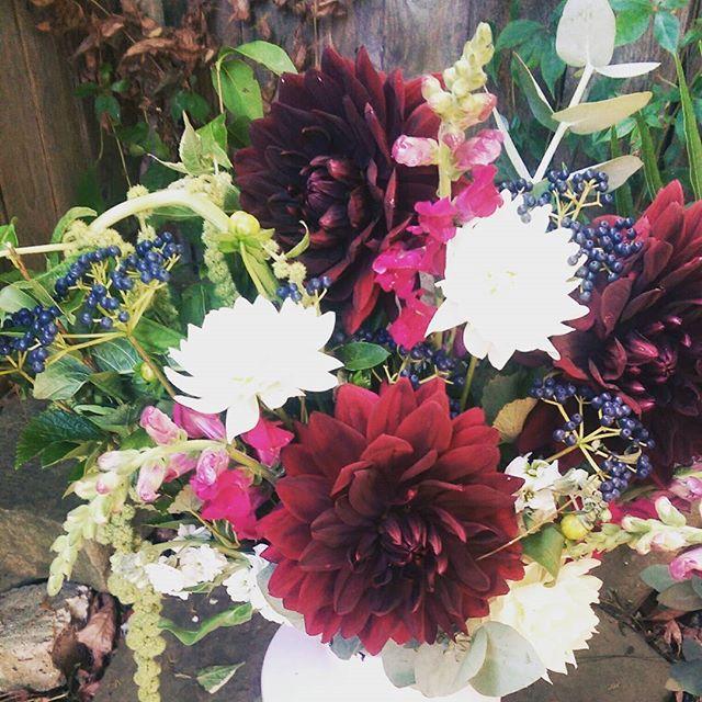 Burgundy cream dahlia wedding vases