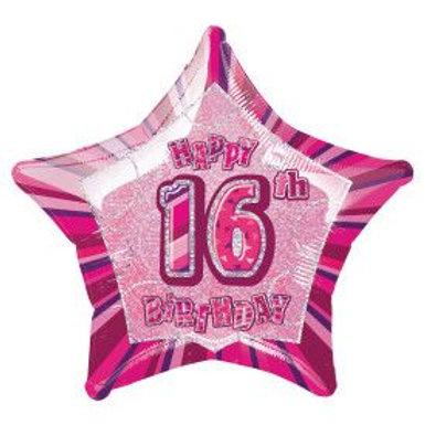 "Balloon Foil 18"" Happy Birthday 16 Pink"