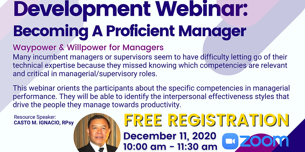 Management Development Webinar: Becoming A Proficient Manager