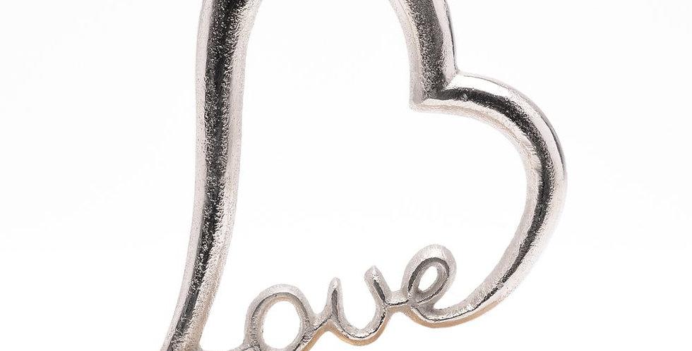 wood metal love ornament