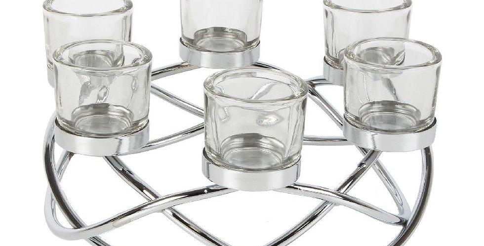 HESTIA® silver metal tealight centrepiece