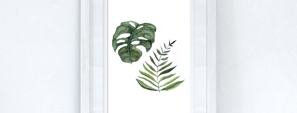 Watercolour Greenery Duo Bedroom Home Kitchen Living Room Wall Decor Print