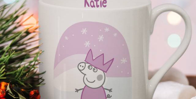 Personalised Peppa Pig™ Mummy Pig Snowglobe Large Balmoral Mug