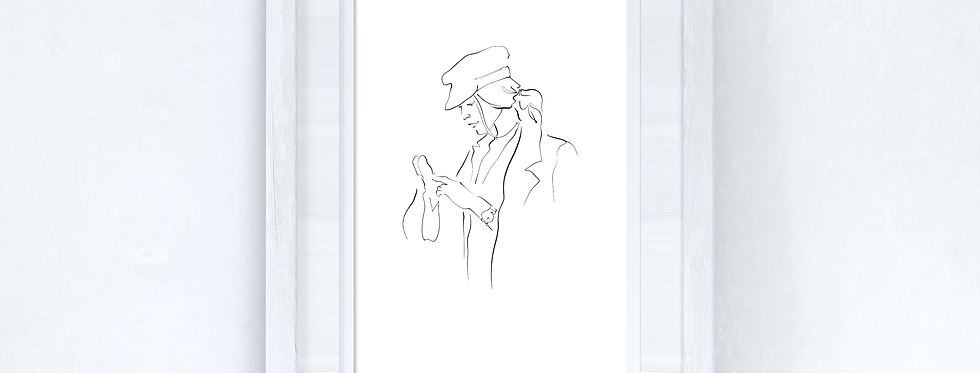 Line Work Woman Shopping Simple Home Bedroom Dressing Room Wall Decor Print