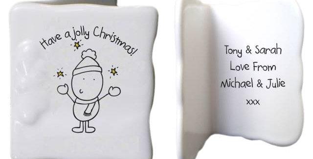jolly christmas bone china card