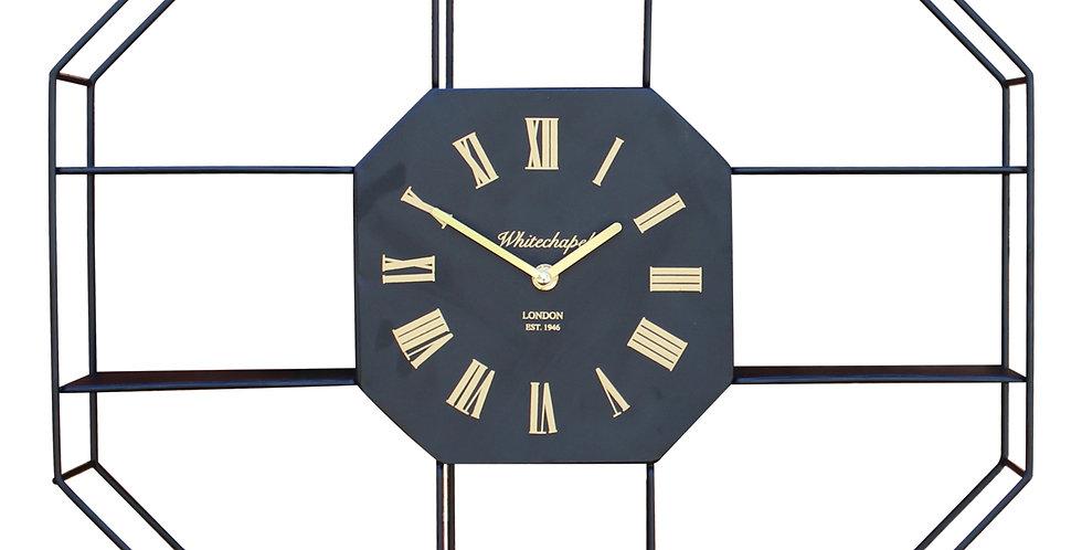 Black Metal Clock With Shelving