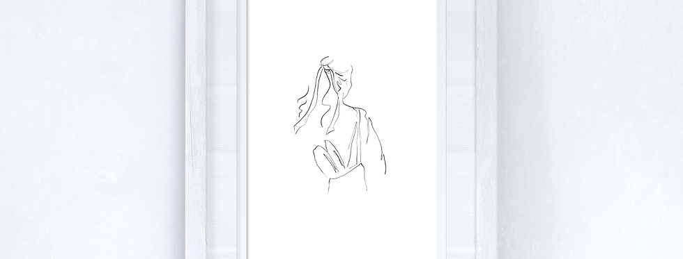 Line Work Woman With Bag Simple Home Bedroom Dressing Room Wall Decor Print