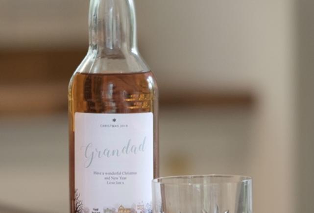 personalised snow scene blended whisky