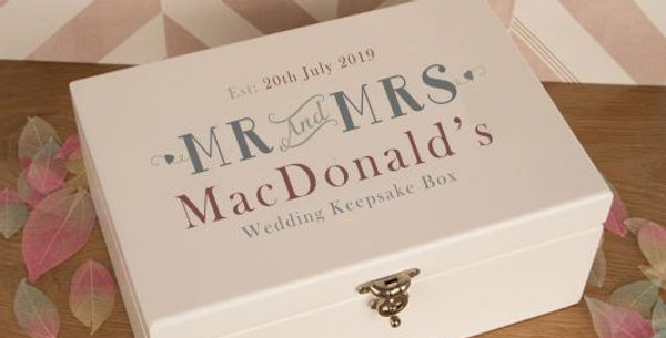 Personalised Couples Wedding Memories Keepsake Box