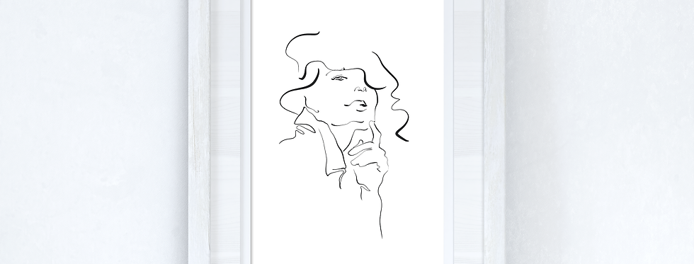Line Work Woman Face Simple Home Bedroom Dressing Room Wall Decor Print