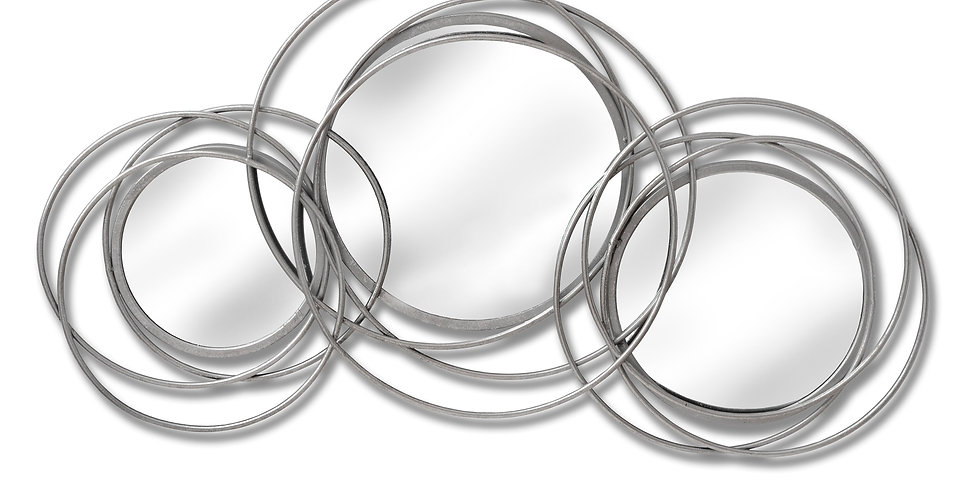 Silver Trio Multi Circled Wall Art Mirror