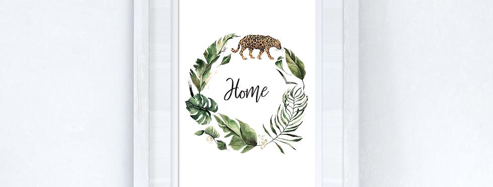 Watercolour Greenery Leopard Wreath  Wall Decor Print