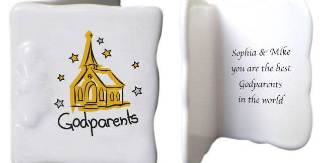 Church Godparents Bone China Message Card