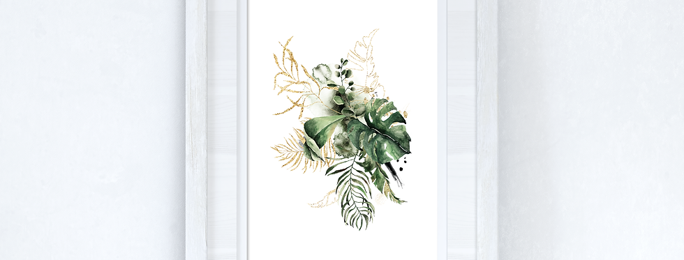 Watercolour Gold Greenery Madness Wall Decor Print