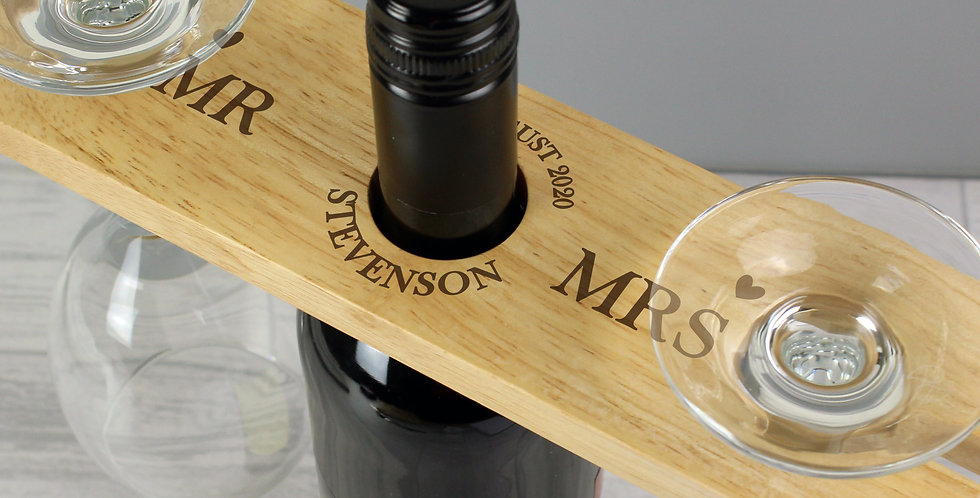 mr & mrs glass & bottle holder