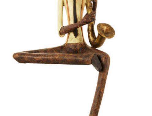 sitting sax player