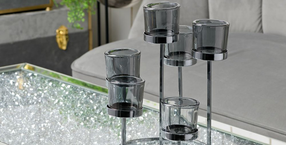 HESTIA® silver smoked glass 6 cup candle holder